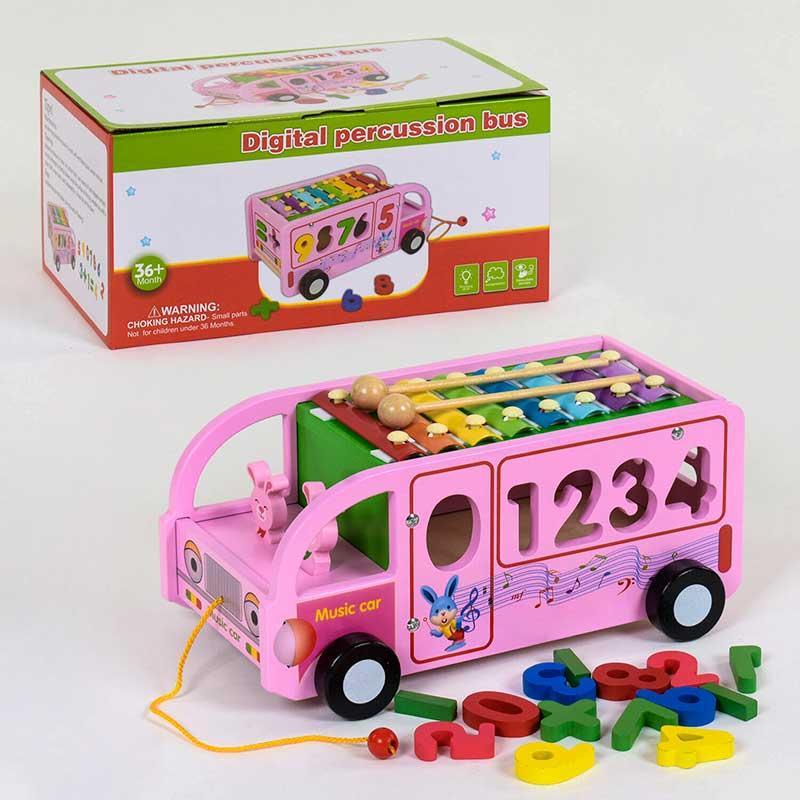 Деревянный Автобус с ксилофоном С 39219 сортер, каталка