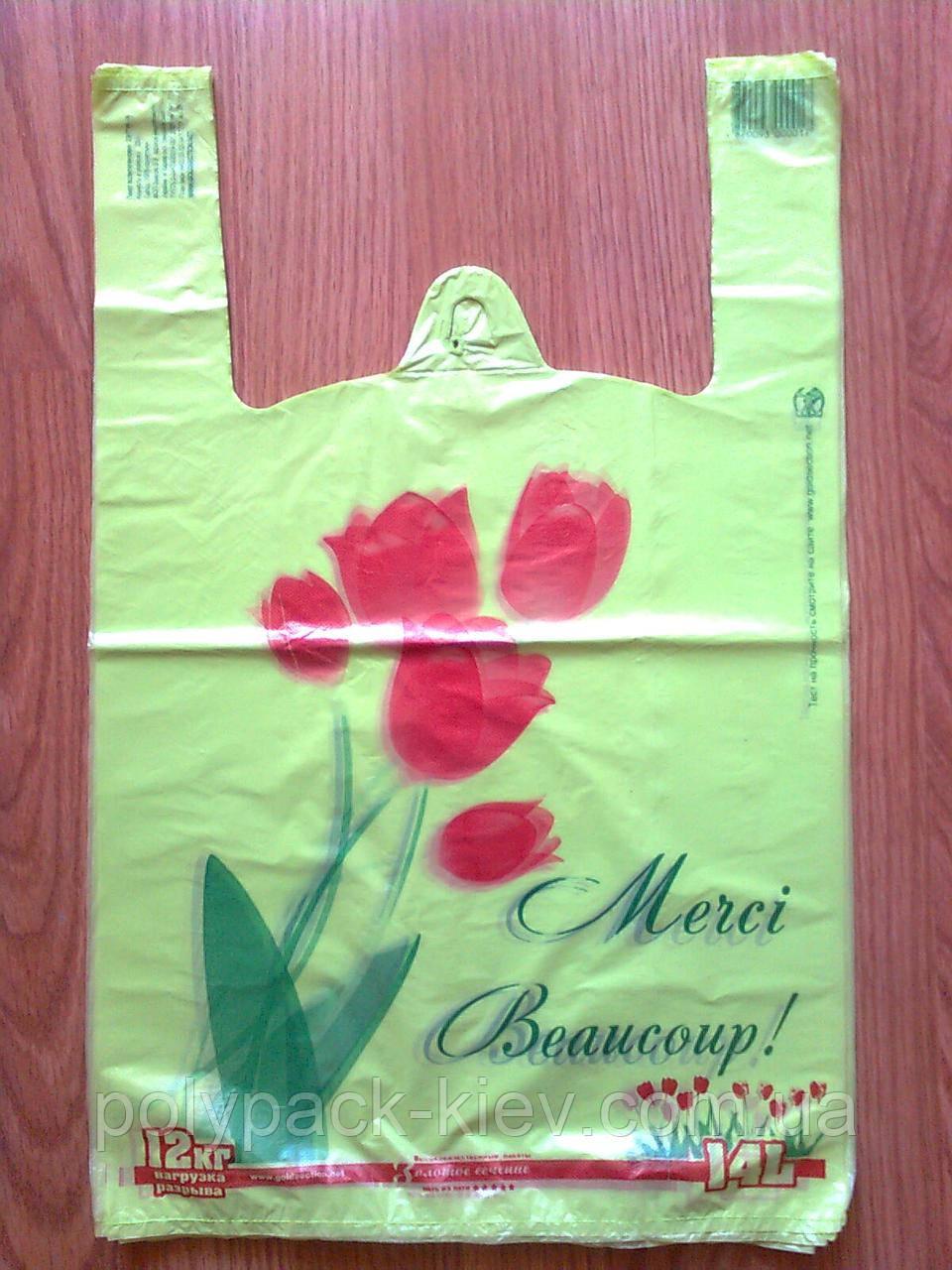 """Пакет майка """"Тюльпаны"""" 30*47 см. полиэтиленовые пакеты упаковочные с печатью купить дешево Киев"""