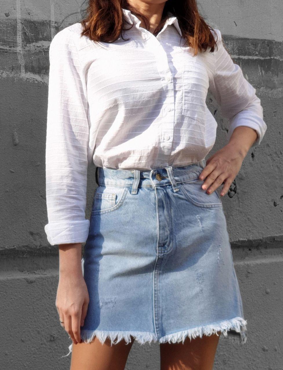 Женская джинсовая юбка с бахрамой и карманами 79wa379