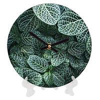Часы настенные круглые, диаметр 18см Листья