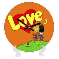 Часы настенные круглые, диаметр 18см Love оранжевые