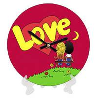 Часы настенные круглые, диаметр 18см Love красные