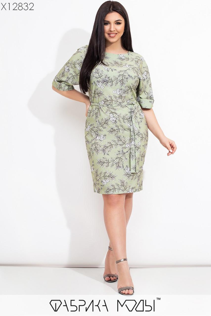 Принтованное платье в больших размерах с рукавом до локтя и поясом 1uk642