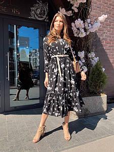 Женское платье миди с воротником стойкой 42-44 р