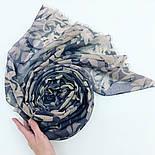 Палантин шерстяной 10396-1, павлопосадский шарф-палантин шерстяной (разреженная шерсть) с осыпкой, фото 7