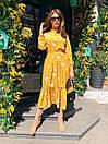Летнее принтованное длинное платье с оборкой и длинным рукавом 36plt1062, фото 2