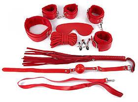 КОМПЛЕКТ (наручники, оковы, маска, кляп, плеть, ошейник с поводком, верёвка, зажимы для сосков) цвет
