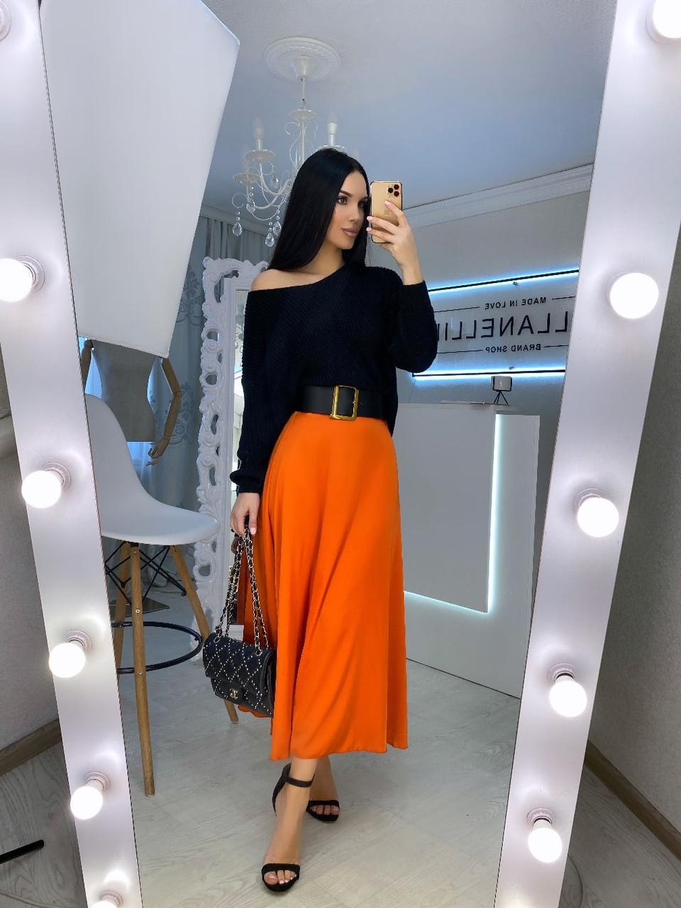Длинная шелковая женская юбка расклешенная 20jus384