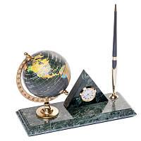 Подставка на стол для руководителя BST 540063 24х10 с подставкой для ручки часами и глобусом мраморная