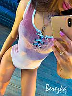 Бархатное Женские боди со шнуровкой на груди и без рукава 66mkp385Q, фото 1