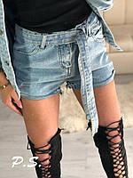 Светлые женские джинсовые шорты с поясом на талии 76mju381, фото 1