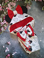 """Детский демисезонный конверт на выписку """"Ушки"""", конверт-одеяло, нарядный конверт на выписку (ВЕСНА/ ОСЕНЬ)"""