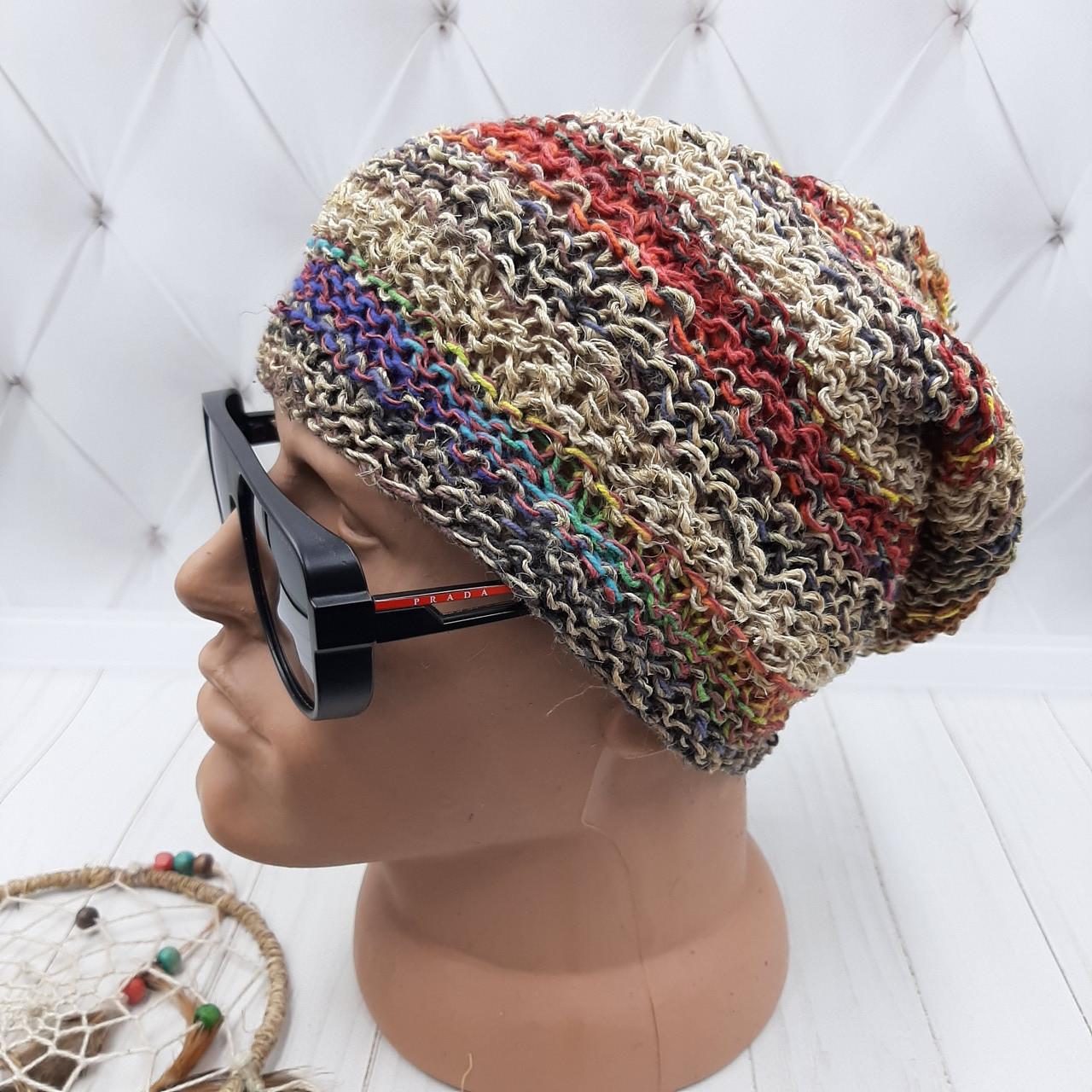 Вязаные шапочки радужные из Непала ручной работы мужская,натуральная.