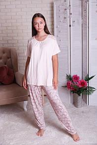 """Красива батальна жіноча піжама з футболкою і штанами """"Джульета"""""""
