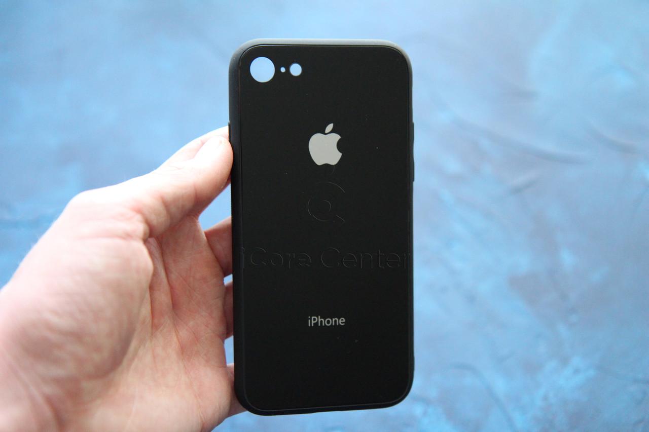 Чохол накладка на iPhone 7 / 8 Glass Pastel color Logo Чорний (Black)