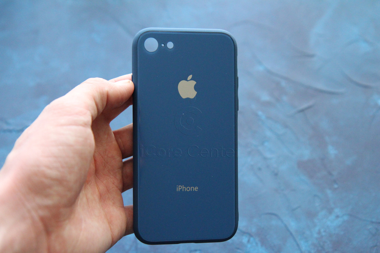 Чехол накладка на iPhone 7 / 8 Glass Pastel color Logo Синий (Blue)