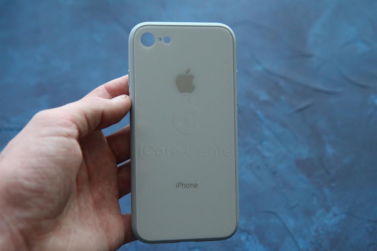 Чохол накладка на iPhone 7 / 8 Glass Pastel color Logo Світло-блакитний (blue Mist)