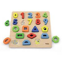Деревянный пазл Viga Toys Цифры и фигуры (50119), фото 1