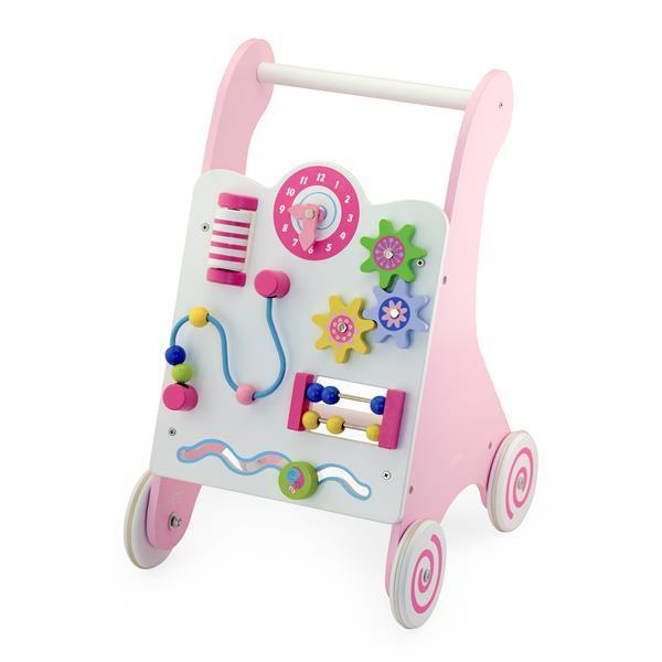 Детские ходунки-каталка Viga Toys с бизибордом, розовый (50178)