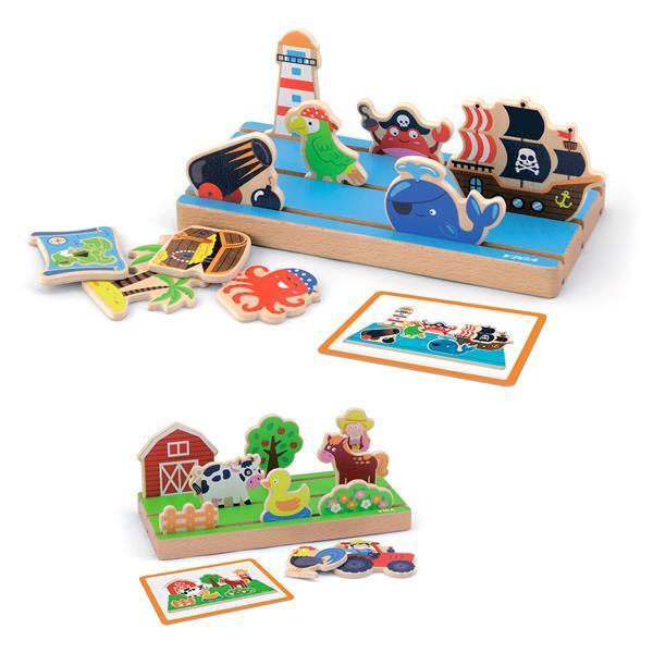 """Игровой набор Viga Toys """"Пространство и расстояние: ферма, море"""" двусторонний (50183)"""