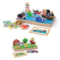 """Игровой набор Viga Toys """"Пространство и расстояние: ферма, море"""" двусторонний (50183), фото 1"""