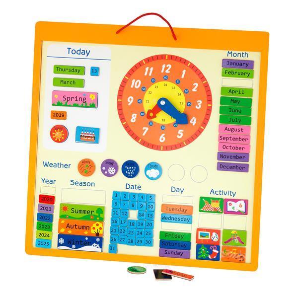 Магнитный календарь Viga Toys с часами, на английском языке (50377)