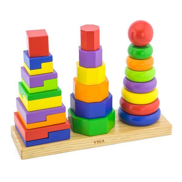 Набор деревянных пирамидок Viga Toys Три фигуры (50567)