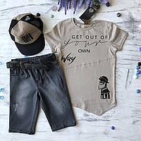Летний джинсовый костюм на мальчика с кепкой 4. Размер 5 лет, 6 лет, 7 лет
