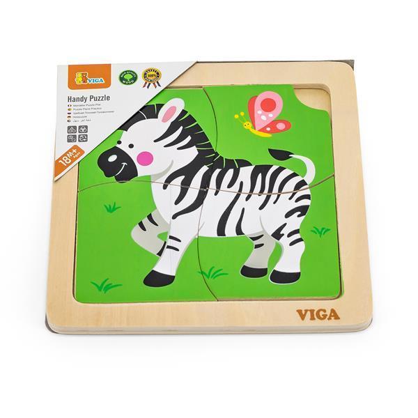 Деревянный мини-пазл Viga Toys Зебра, 4 эл. (51317)