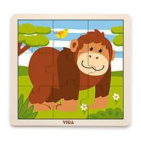 Деревянный пазл Viga Toys Обезьянка, 9 эл. (51440)