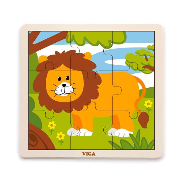 Деревянный пазл Viga Toys Лев, 9 эл. (51442)