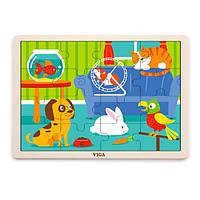 Деревянный пазл Viga Toys Домашние питомцы, 16 эл. (51453), фото 1
