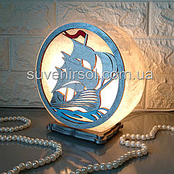 Соляний світильник круглий Вітрильник білий кольоровий