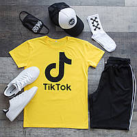 Шорты + Футболка TikTok x black-yellow   Комплект мужской летний ЛЮКС качества, фото 1