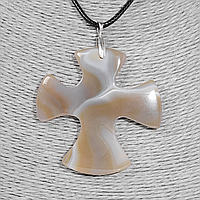 Крестик из агата, серебро, 1325КЛА