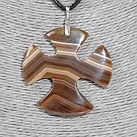 Крестик из агата, серебро, 1326КЛА