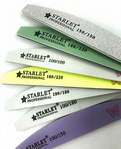 Пилка для ногтей Starlet Professional PET 100/100, полукруг,белая