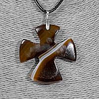 Крестик из агата, серебро, 1327КЛА