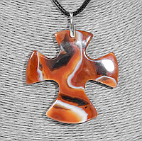 Крестик из агата, серебро, 1328КЛА