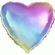 Куля фольгований серце градієнт веселка 45 см,Flexmetal Іспанія