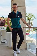 Летний мужской спортивный костюм штаны и футболка поло чёрный с зелёным 48 50 52 54