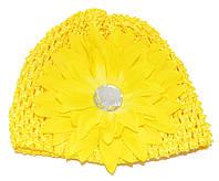 """Дитяча ажурна шапочка """"великий квітка з каменем"""" - жовта"""