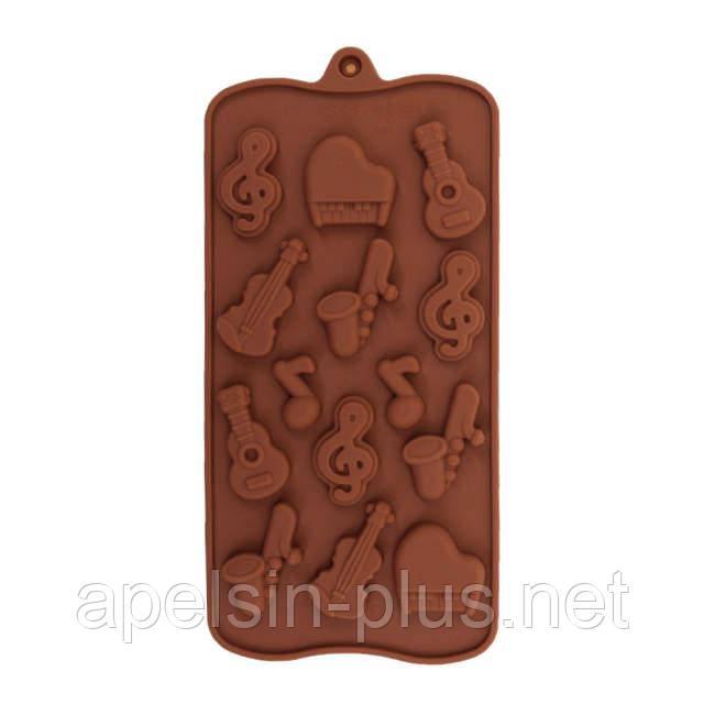 Силиконовая форма для изомальта и шоколада Музыкальные инструментына 14 ячеек