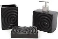 Набор аксессуаров Bright для ванной комнаты 3 предмета черный керамика 851-245