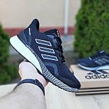 Чоловічі кросівки в стилі Adidas Nova Run чорні на білому, фото 3