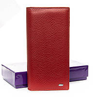Клатч женский маленький кошелёк из натуральной кожи красный