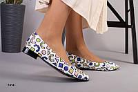 Женские кожаные туфли-балетки разноцветные