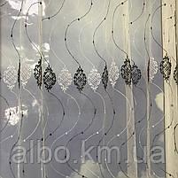 Коротка тюль в зал з турецького фатину ALBO 400x180 cm Біло-чорна (KU-140-4-14), фото 3