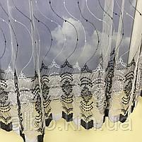 Коротка тюль в зал з турецького фатину ALBO 400x180 cm Біло-чорна (KU-140-4-14), фото 10