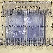 Коротка тюль в зал з турецького фатину ALBO 400x180 cm Біло-чорна (KU-140-4-14), фото 8
